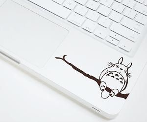 totoro, laptop, and white image