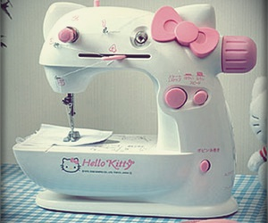 hello kitty, pink, and sewing machine image