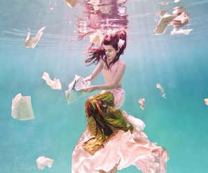 underwater, photography, and dress image