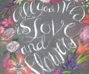 chalk art, flowers, and love image