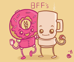 coffee, donuts, and cute image