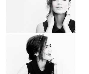 lily collins, black and white, and makeup image
