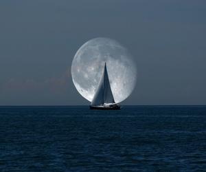 moon, sea, and ocean image