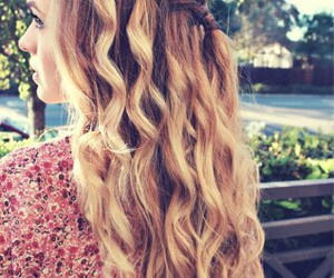 hair, blonde, and braided image