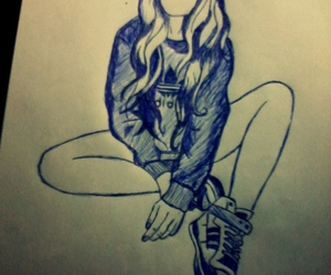 adidas, girl, and sketch image