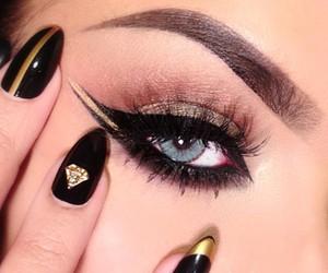 nails, makeup, and eyeliner image
