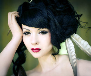feathers, hair, and make up image