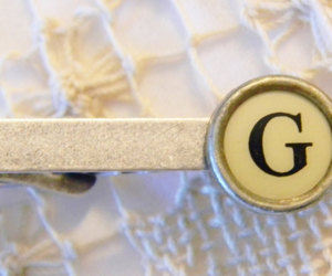 letter g, gift for man, and silver tie clip image