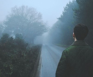 road, boy, and fog image