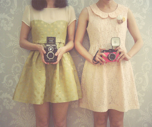 dress, camera, and vintage image