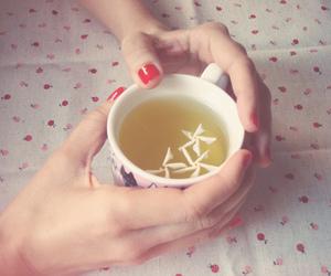 cup, nail polish, and tea image