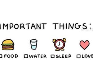 food, sleep, and love image