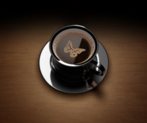 butterfly, wallpaper, and coffee image