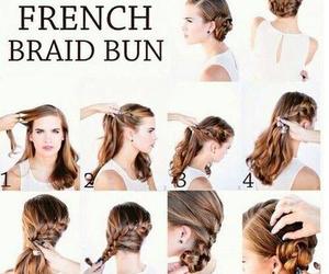 hair, bun, and braid image