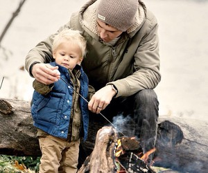 baby, bonfire, and father image