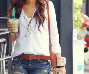 brown, shirt, and jeans image