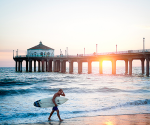 beach, surfing, and paradise image