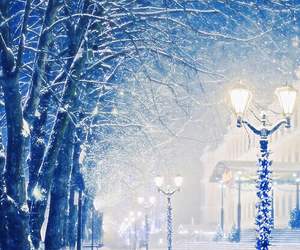 cold, snow, and lights image