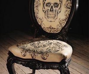 skull, chair, and black image