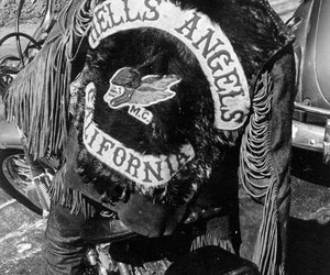 Hells Angels, b&w, and black and white image