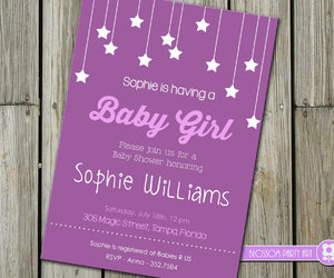 baby, invitation, and stars image