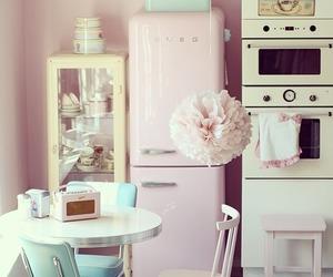 vintage, kitchen, and pink image