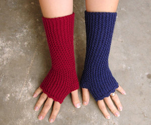 burgundy, handmade, and fingerless mittens image