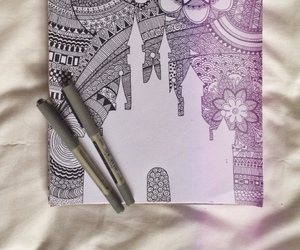 art, castle, and draw image