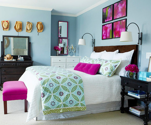 bedroom, pink, and blue image