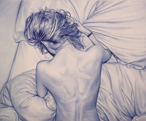 bed, blue, and drawing image