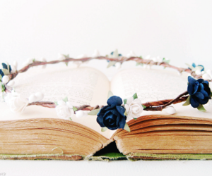 blue, book, and flower image