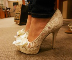 high heels, white, and bow image