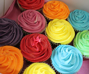 colorful, sweet, and cupcake image