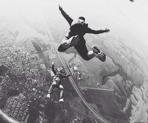 black and white, fly, and jump image