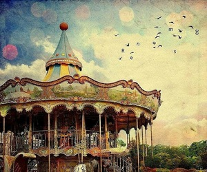 carousel, vintage, and bird image