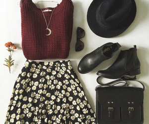 clothes, flowers, and hat image