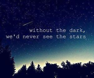 stars, quote, and dark image