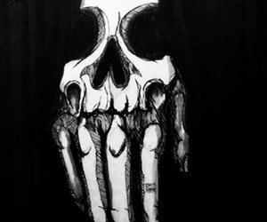 dark, hand, and skull image
