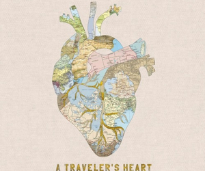 heart, travel, and map image