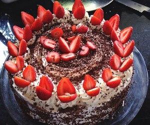 cake, chocolate, and strawberry image