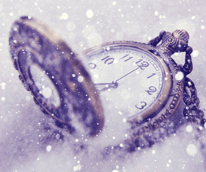 snow, clock, and time image