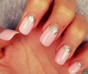 pink silver nails love image