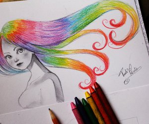 drawing, rainbow, and art image