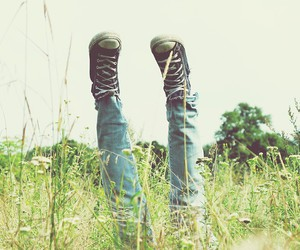 grass, sneackers, and legs image