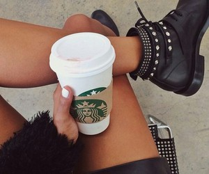 starbucks, fashion, and boots image