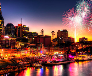 fireworks, city, and light image