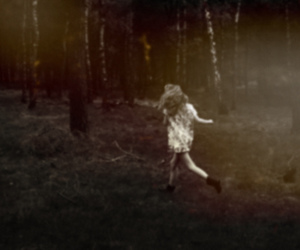 girl, woods, and forest image