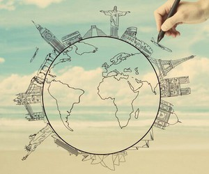drawing, travel, and plane image
