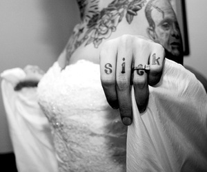 tattoo, black and white, and wedding image