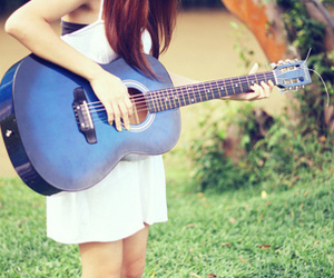 guitar, girl, and blue image